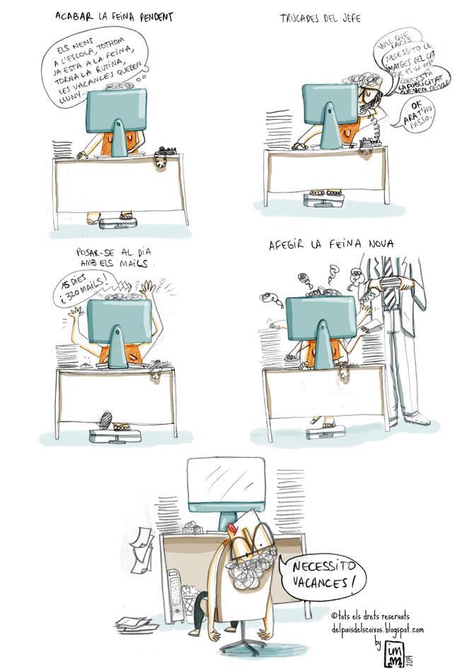 vinyeta il·lustrada sobre la tornada a la feina. ©Imma Mestre Cunillera