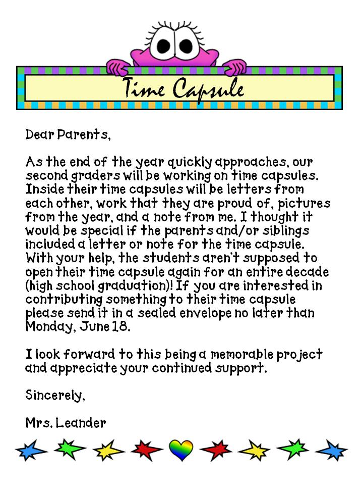end of the year letter to parents from k 2 is splendid time capsule 22349