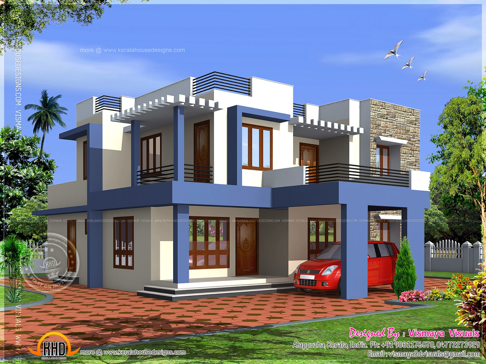Box type 4 bedroom villa kerala home design and floor plans for Different interior designs of houses