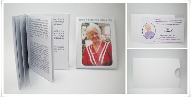 Aniversário da Sueli, Modelo Daniela 00 e livro capa dura 8x11 cm.