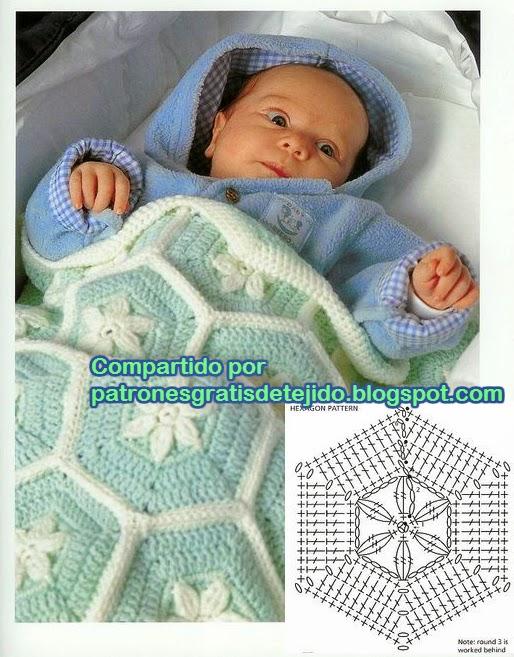 Mantita de bebé motivo hexágono | Crochet y Dos agujas - Patrones de ...