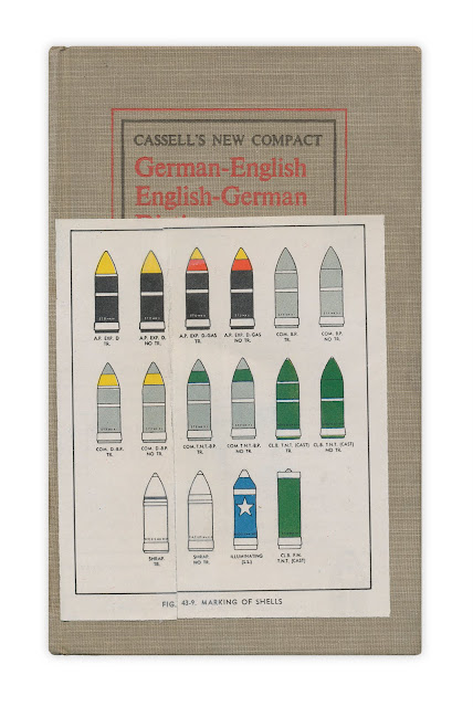 Illustration displaying the markings of various shells of ammunition, date and origin unknown. Quelle: /www.forgottenbookmarks.com
