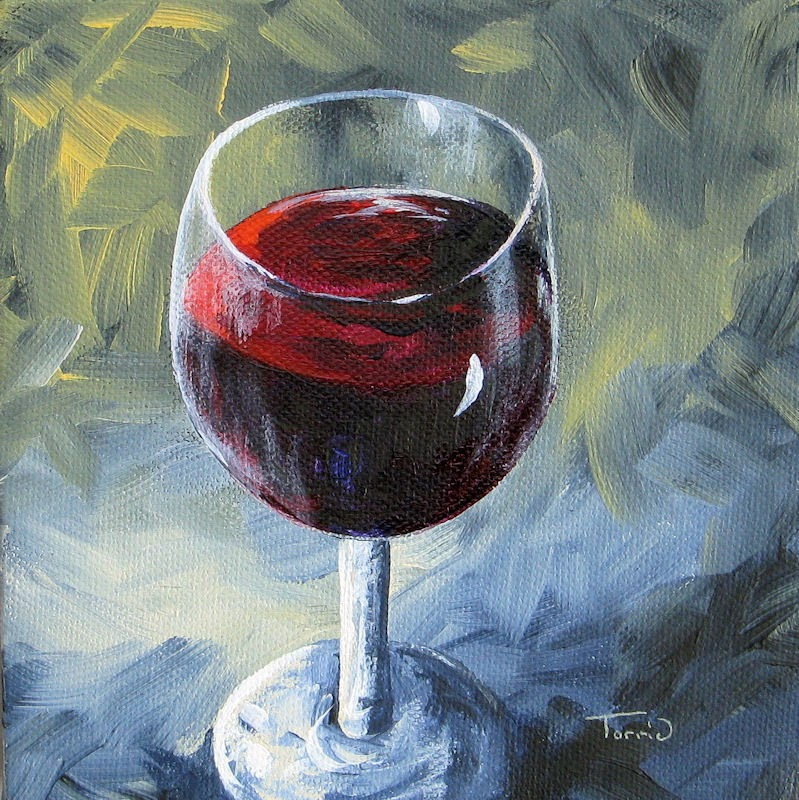 torrie smiley original works of art glass of red wine ii