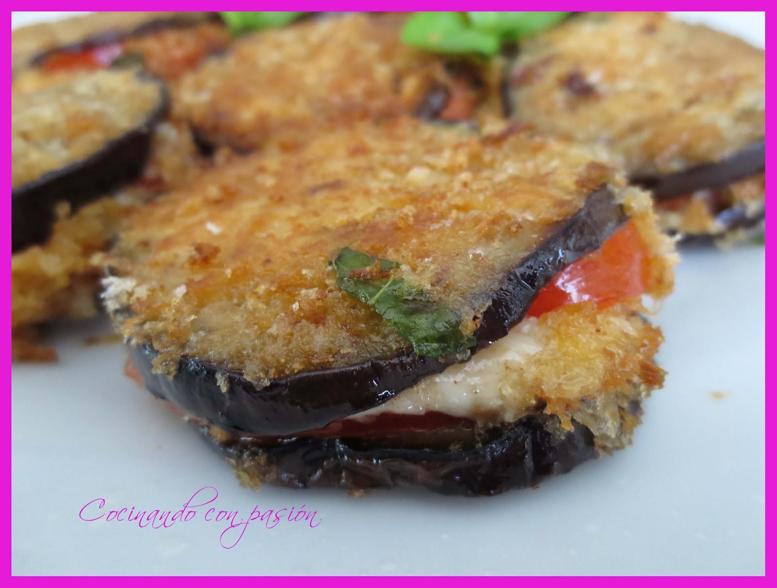 Cocinando con pasi n bocados de berenjena tomate y - Berenjenas con mozzarella ...