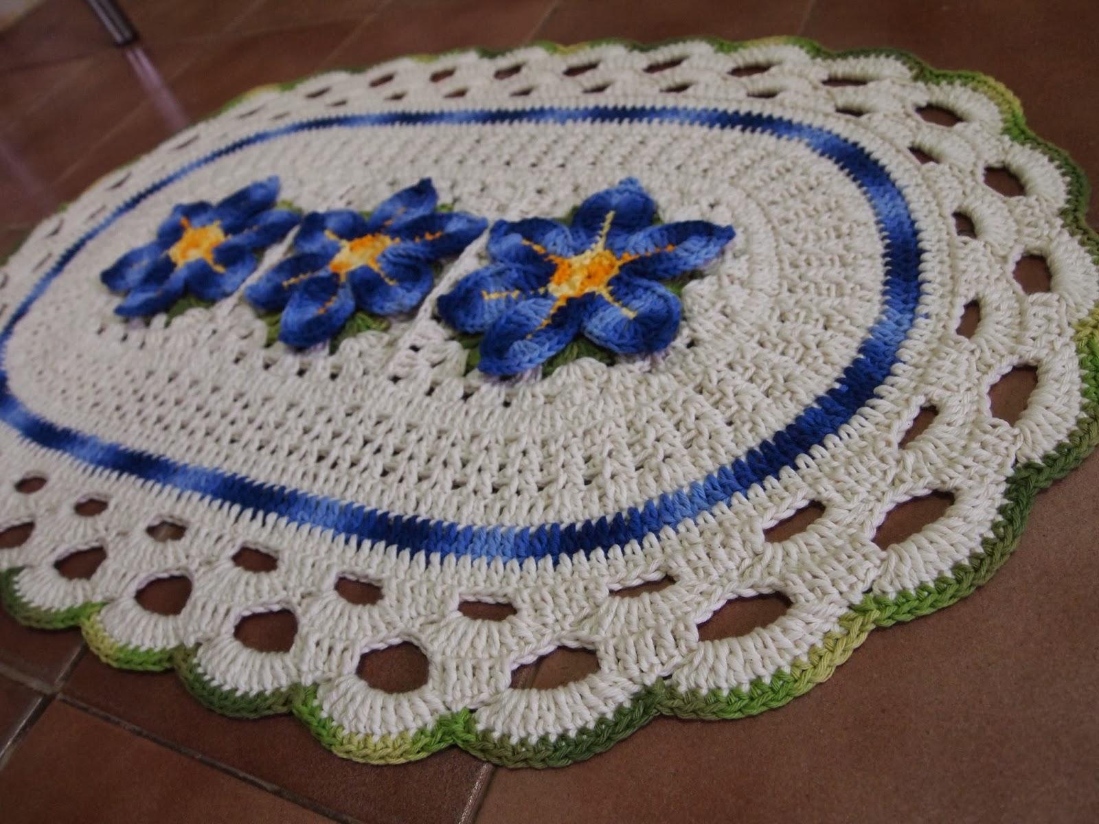 os croches da elsa tapete oval com flor estrela do mar. Black Bedroom Furniture Sets. Home Design Ideas