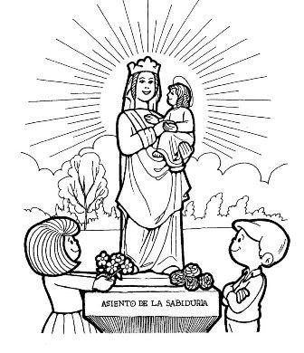 Me gusta la clase de religión: Colorear Virgen del Pilar