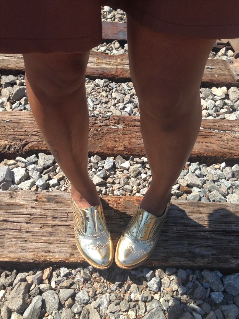 styling gold oxfords
