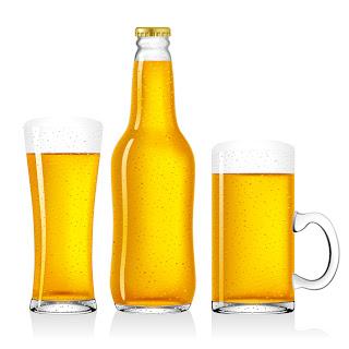 美味しそうに泡立つビール beer bottles beer mugs イラスト素材