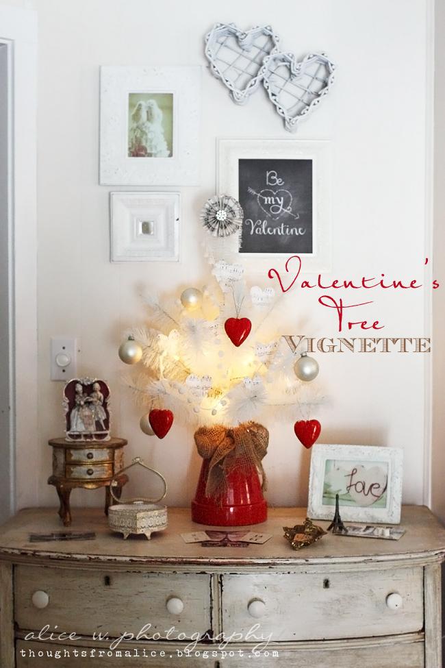 vintage valentines mantel a bonus vignette - Vintage Valentine Decorations