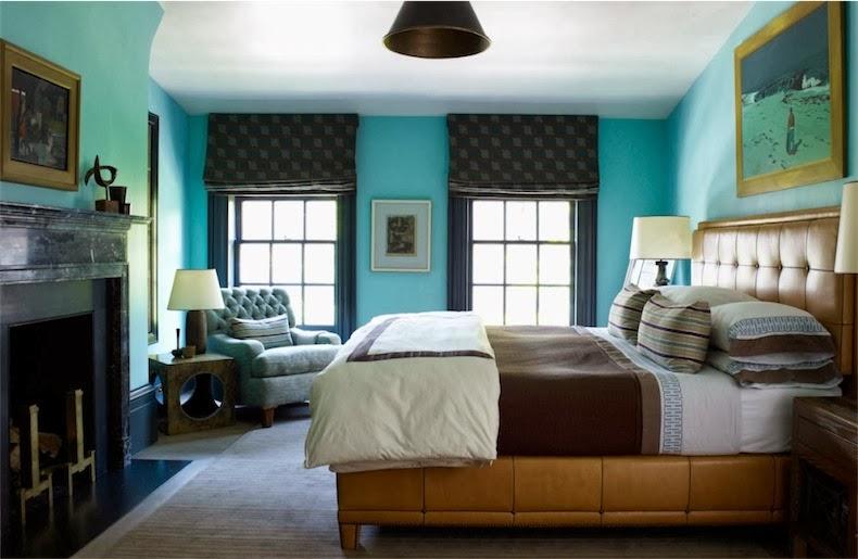 Una casa en nueva york refinada distinguia y serena for Dormitorio azul turquesa