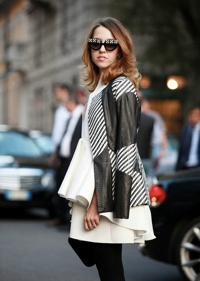 black and white - milan fashion week - street style