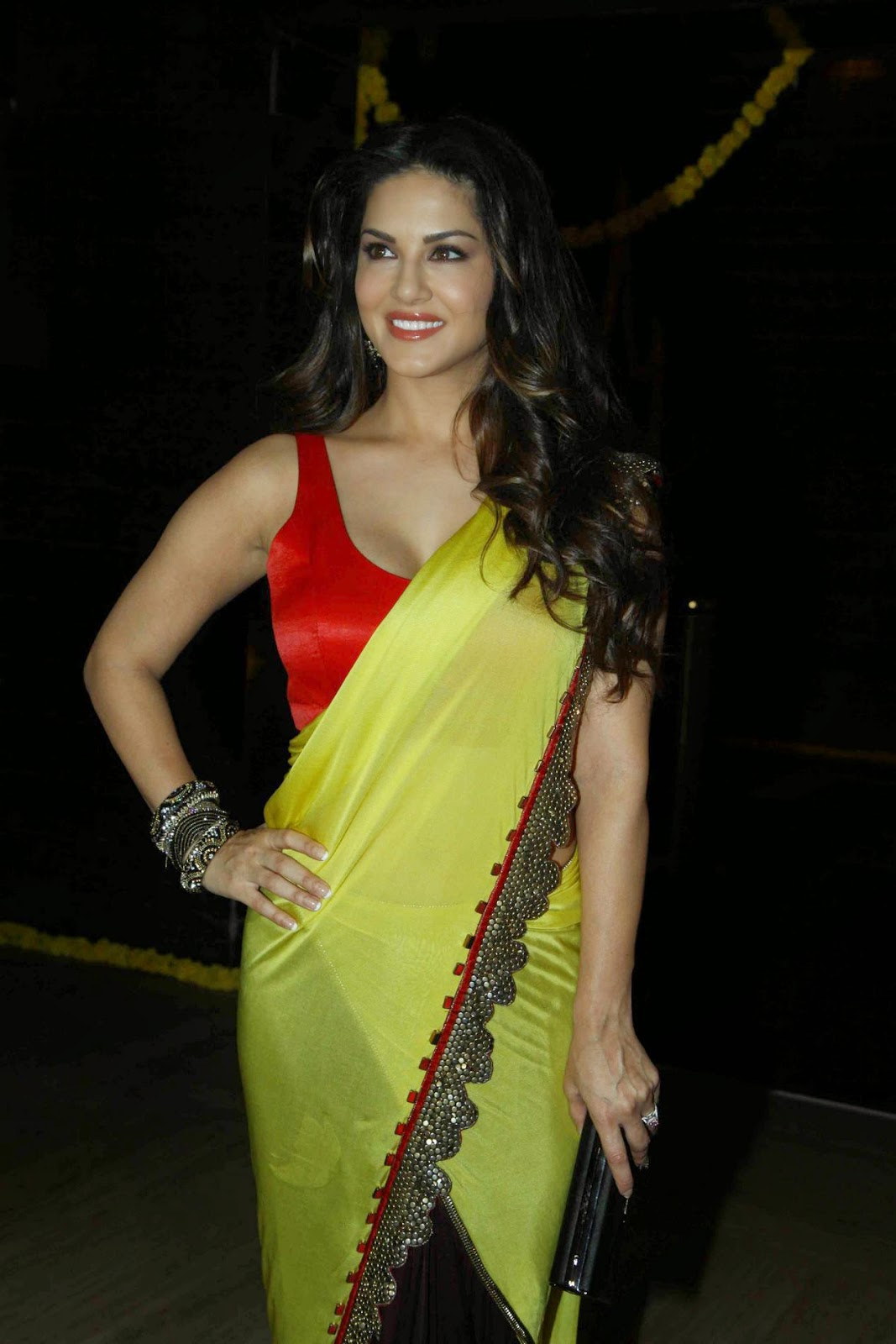 Actress Sunny Leone Latest Cute Hot Saree Navel Show Spicy Photos Gallery At Ek Paheli Leela Movie Trailer Launch