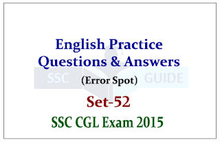 SSC CGl Mains - Practice English Questions (Error Spot)