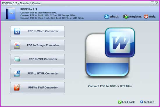 PDFZilla software convert pdf to word, html, image, swf file format