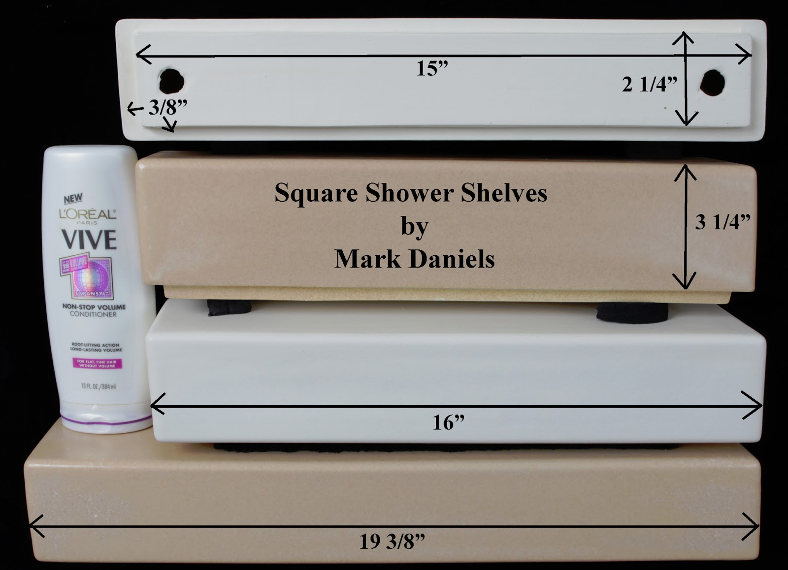 Square And Rounded Ceramic Shower Shelves