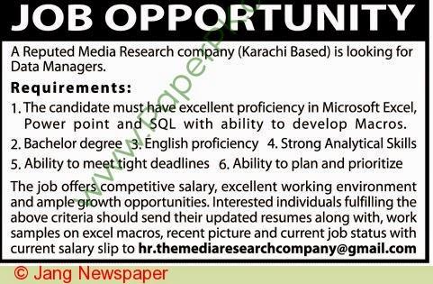 Data Manager Jobs In Karachi