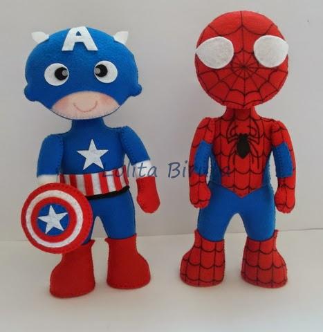 Capitão América e Homem aranha em feltro