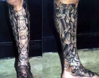 cyborg tattoo: terminator leg