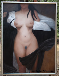 "The Model - Marble Dust and Oil on 40"" x 30"" Canvas Framed"