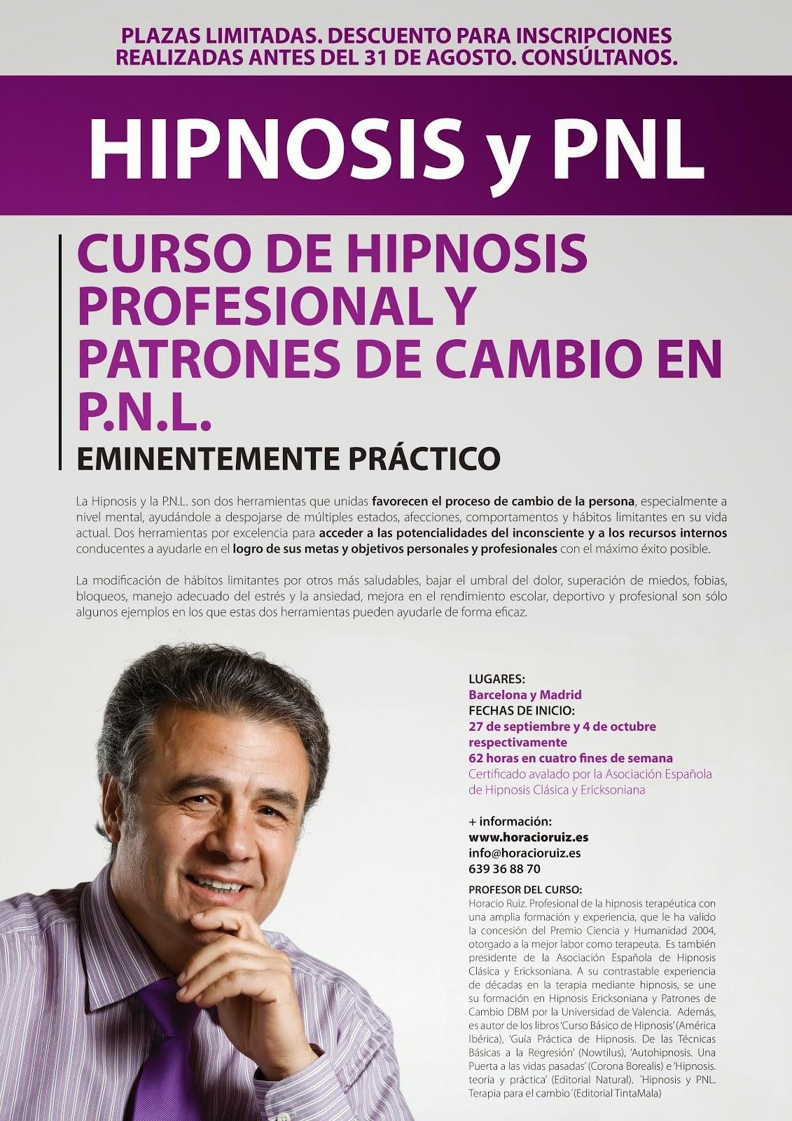 BARCELONA y MADRID. Curso Profesional de Hipnosis y PNL