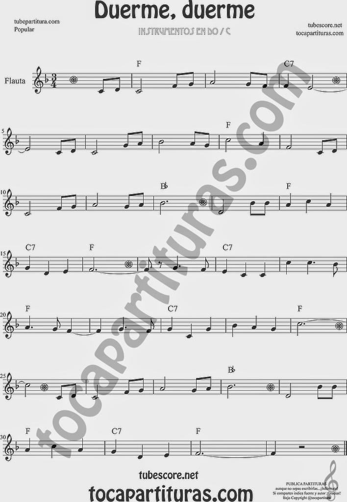 Duerme Duerme Partitura Popular de Flauta Travesera, flauta dulce y flauta de pico Sheet Music for Flute and Recorder Music Scores También te puede gustar la versión fácil (arriba)