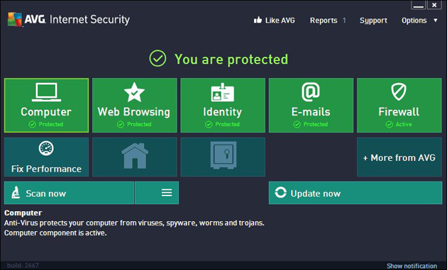AVG Internet Security 2013 – Interface