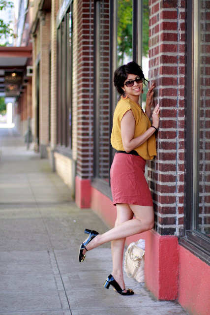 Seattle Street Style Fashion South Lake Union Sheetal Diane Von Furstenberg dress color blocking