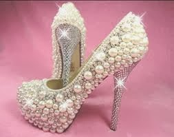 sequinned pearly bridal footwear