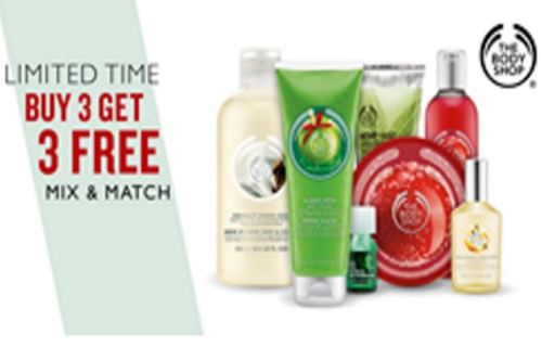 The Body Shop Buy 3 Get 3 Free + $10 Off Promo Code
