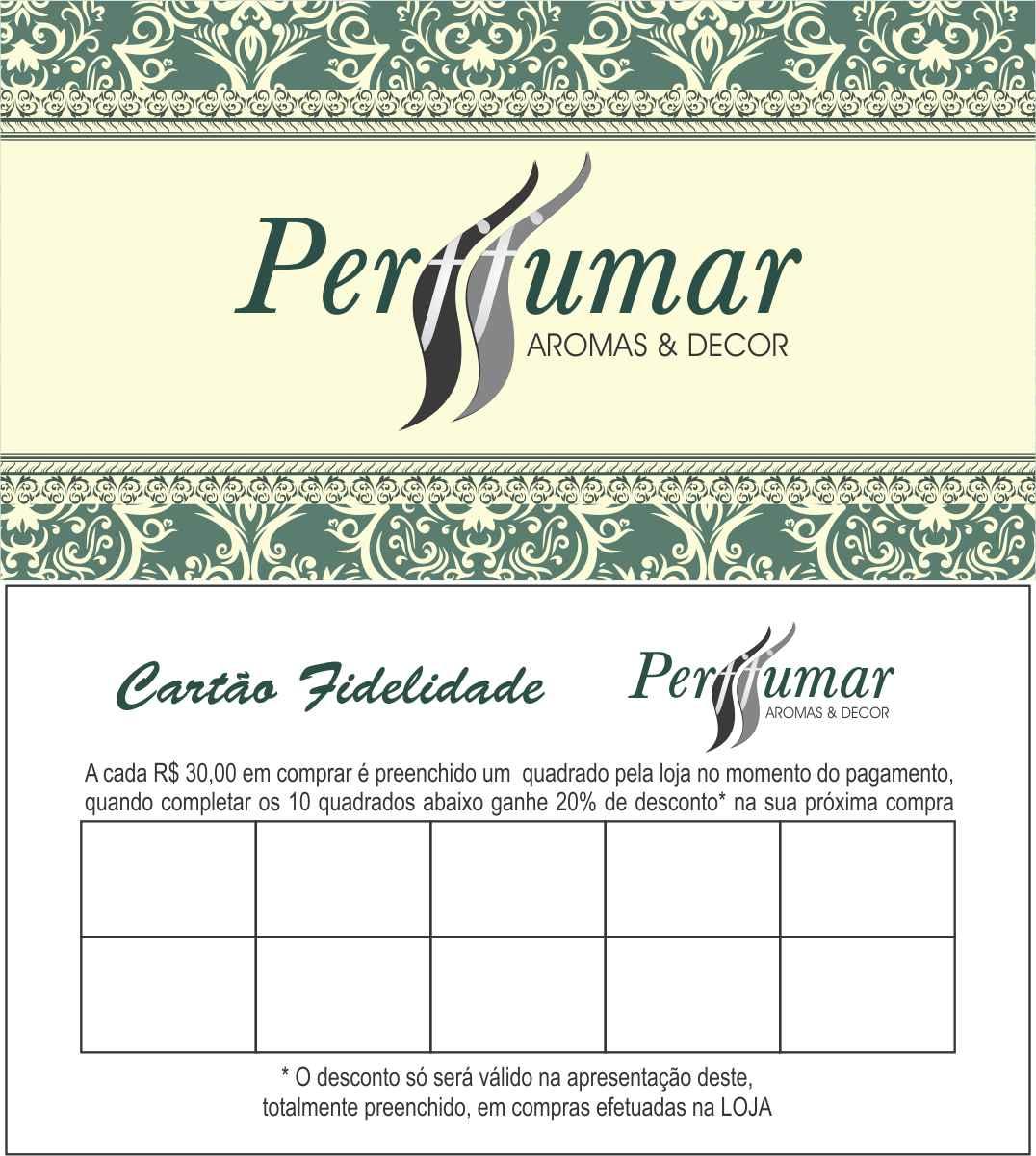 Excepcional Perffumar Aromas & Decor: Cartão fidelidade Perffumar BE65