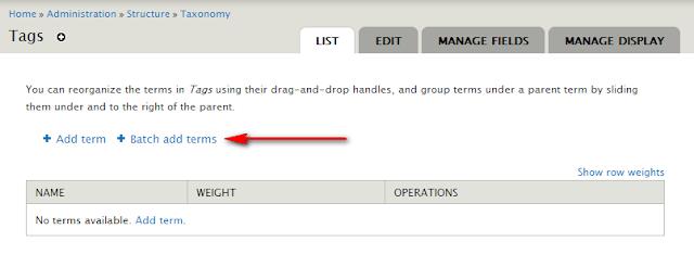 Batch Add Terms, pour accélerer la création de taxonomies sur Drupal 7, A Unix Mind In A Windows World