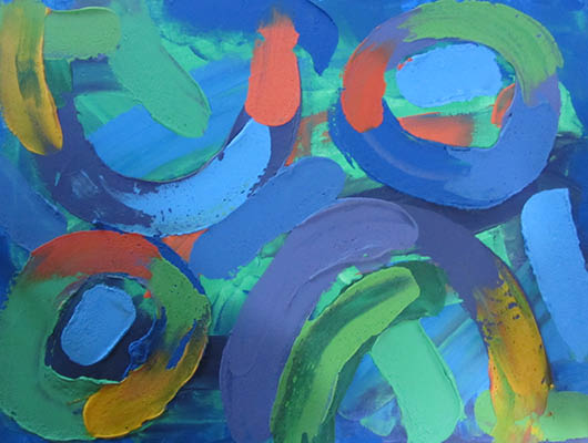 """Textured abstract with blue, orange and yellow paint thickly applied forming swirls and circles showing the sun rising above the misty horizon, 18"""" x 24"""""""