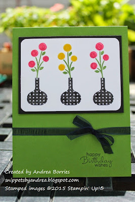 Birthday card made with Bright Blossoms and Basic Black, Gumball Green, Strawberry Slush and Daffodil Delight.