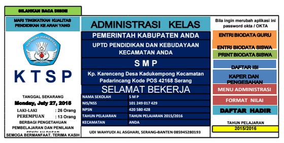 Download Aplikasi Administrasi Kelas Tingkat SMP KTSP.xls