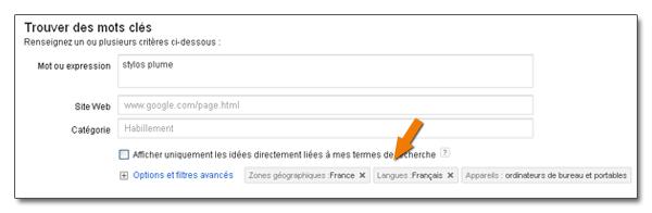 Langue et localisation du générateur de mots-clés Google
