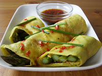 Asparagus filled Coconut Crêpes with a Sweet Chili Lime Sauce