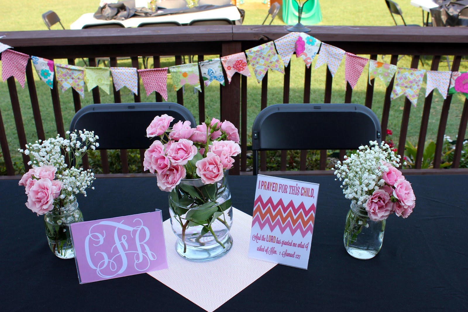 Mason jar baby shower centerpieces homestartx i sewed the pennant flags out of fabric i already had in my stash iu0027m reviewsmspy