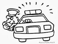 Gambar Polisi Berpatroli Dengan Mobil Untuk Diwarnai Anak-Anak
