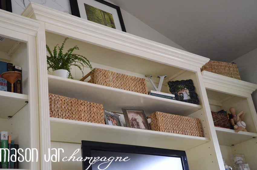 mason jar champagne: ballard designs shelf makeover