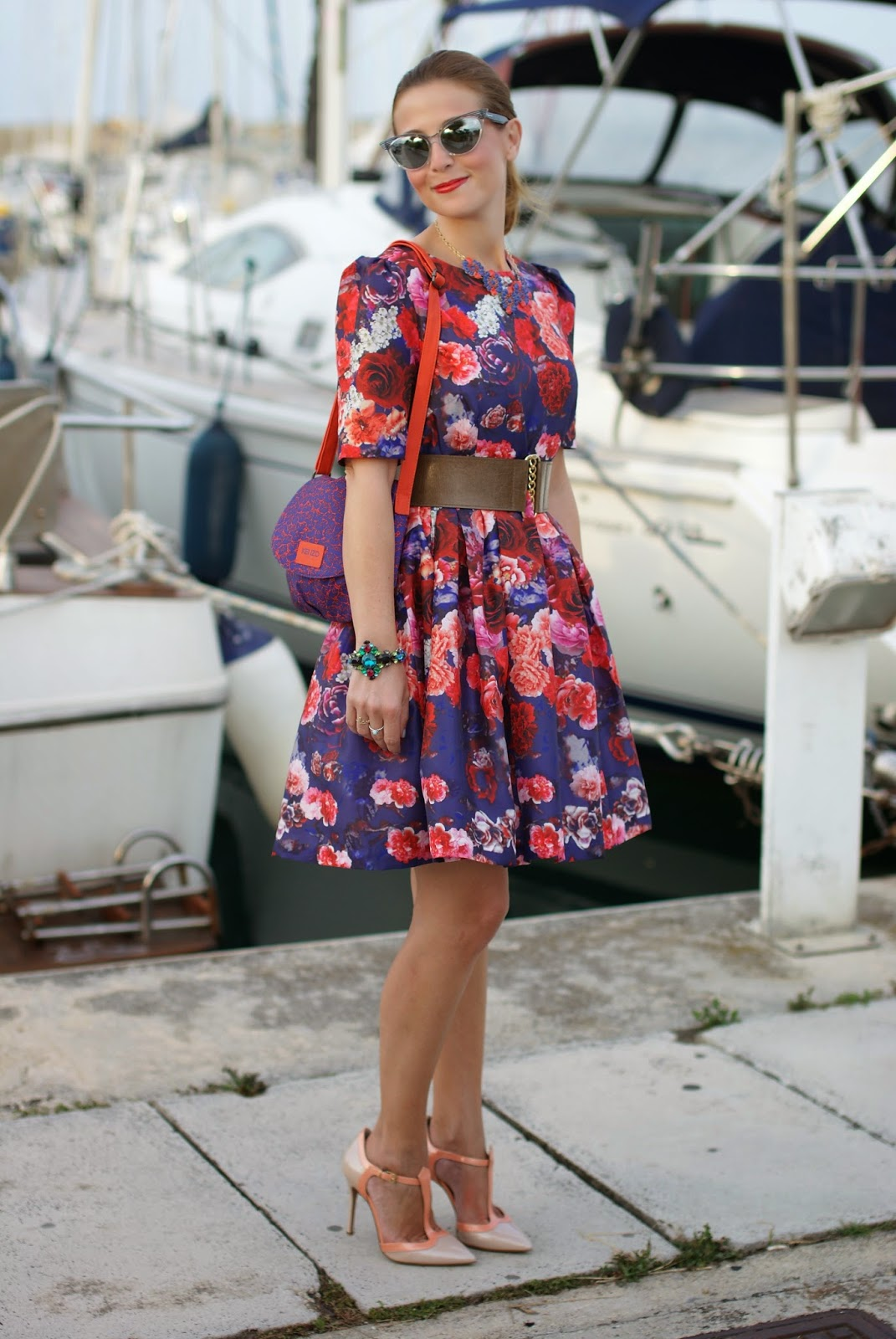 Chicwish blooming red roses dress, Sergio Levantesi shoes, Fashion and Cookies, fashion blogger