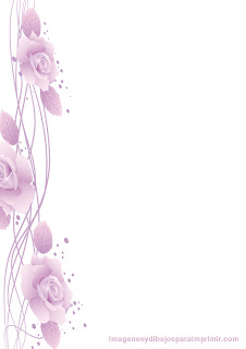 Hoja decorada con margen de rosas