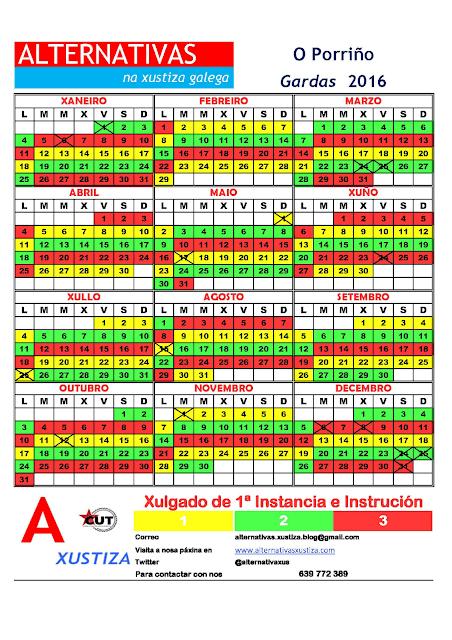 Porriño. Calendario gardas 2016