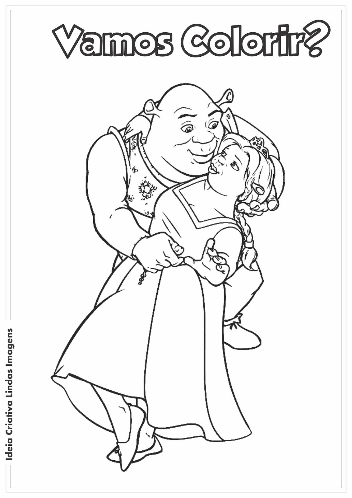 Shrek e Fiona desenho para colorir