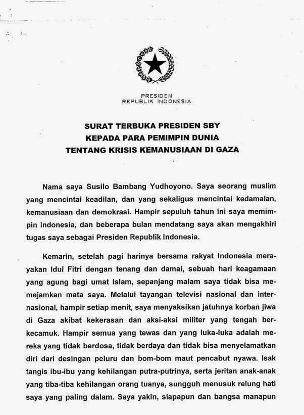 Inilah Surat Terbuka SBY Mendukung Palestina