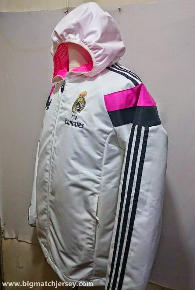 Hoodie GO Waterproof (Rain Jacket) Parasut Windrunner Real Madrid Track Top White 2014-2015