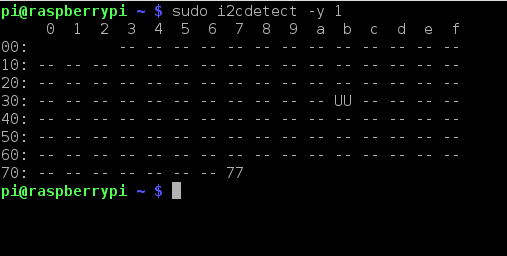 i2cdetect output