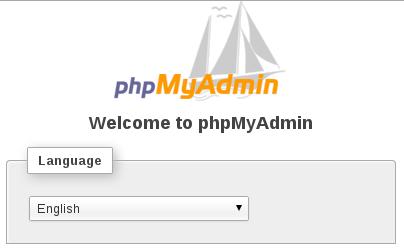 tampilan selamat datang phpMyAdmin