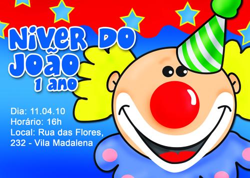 Três Meninas | design: Convite Infantil - Tema: Circo / Palhaço