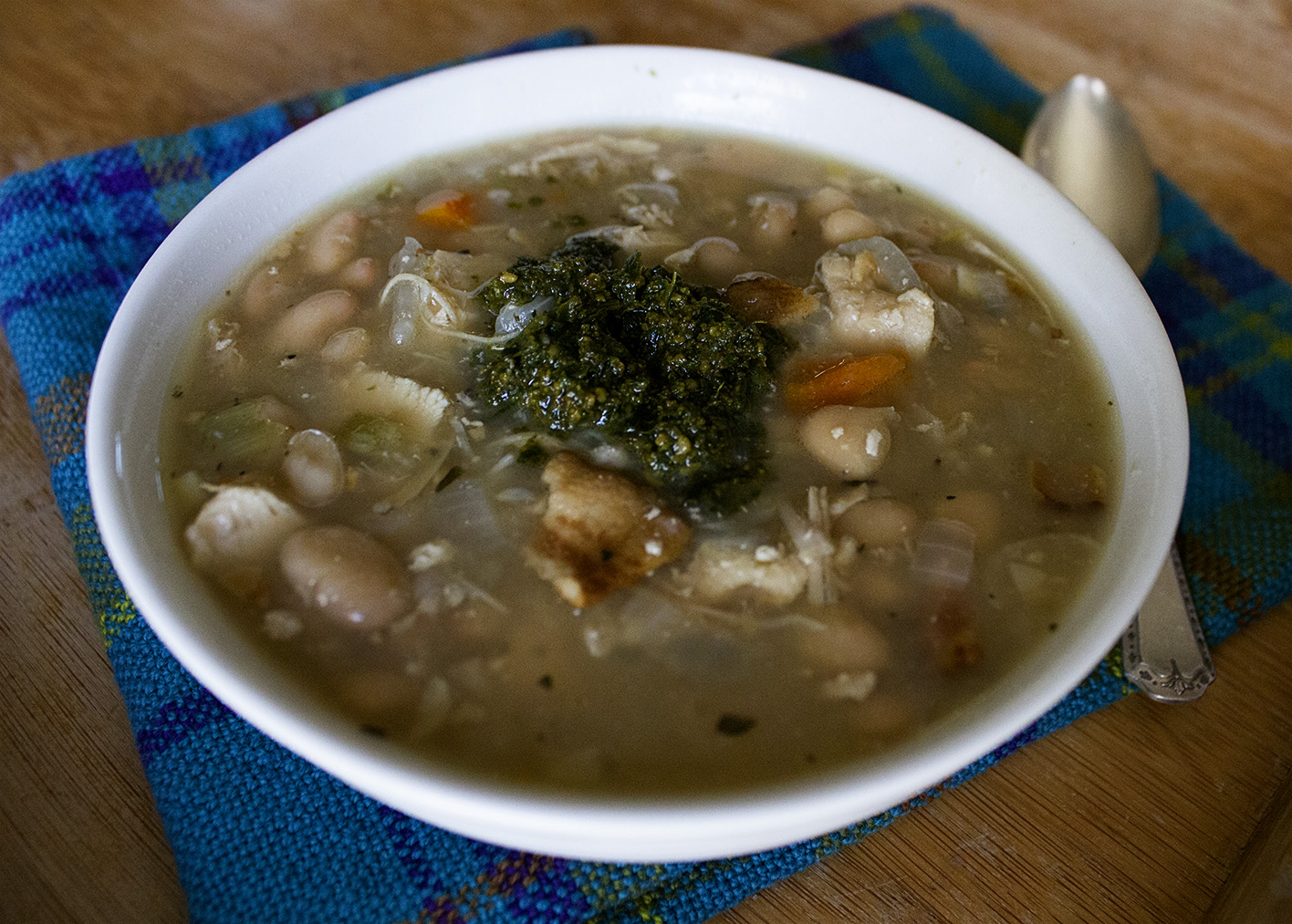 Rurification: Bean Soup with Bacon, Chicken and Pesto