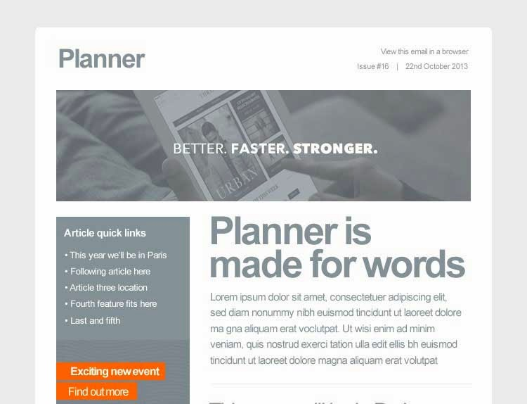Planner email template